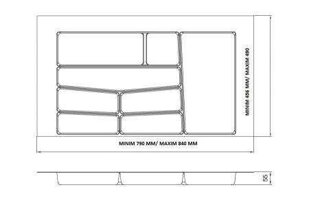 Suport organizare tacamuri, gri deschis, pentru latime corp 900 mm, montabil in sertar de bucatarie1