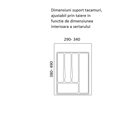 Suport organizare tacamuri, gri metalizat, pentru corp de 400 mm, montabil in sertar bucatarie1