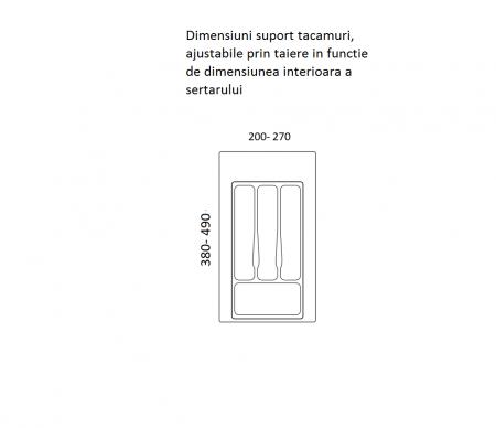 Suport organizare tacamuri, gri metalizat, pentru latime corp 350 mm, montabil in sertar bucatarie1