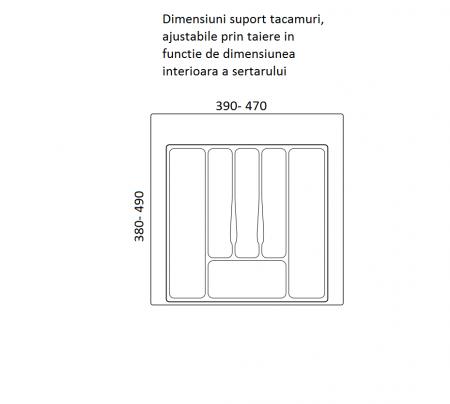 Suport organizare tacamuri, gri metalizat, pentru latime corp 550 mm, montabil in sertar bucatarie1
