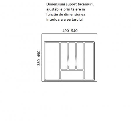 Suport organizare tacamuri, gri metalizat, pentru latime corp 600 mm , montabil in sertar bucatarie1