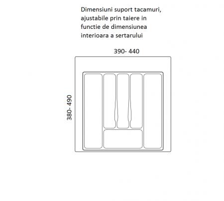 Suport organizare tacamuri, gri, pentru latime corp 500 mm, montabil in sertar bucatarie [1]