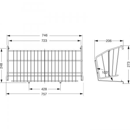 Suport pantofi incorporabil  pentru latime corp 800 mm, gri2