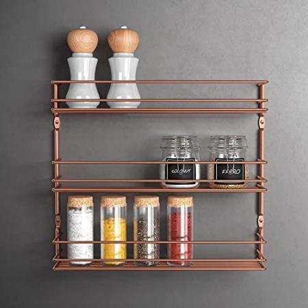 Suport pentru condimente cu 3 nivele Pepito 3 Copper, finisaj cupru, 36 x 8 x 32 cm [2]