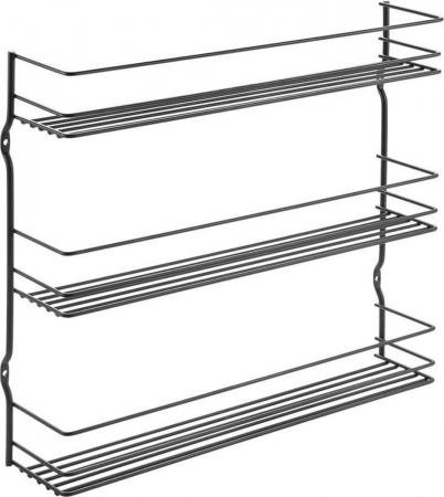 Suport pentru condimente cu 3 niveluri , negru,  36 x 8 x 32 cm0