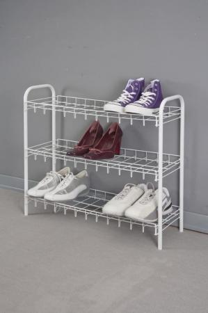 Suport, raft pentru pantofi cu 3 etaje, alb, 64x23x59 cm2