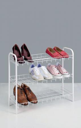Suport, raft pentru pantofi cu 3 etaje, alb, 64x23x59 cm3