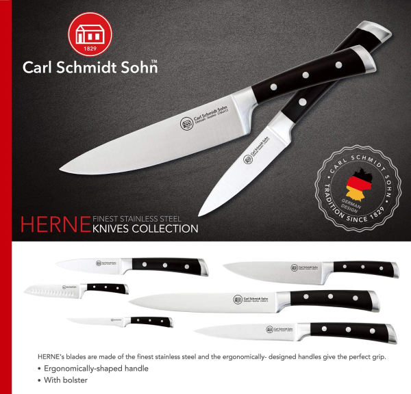 Cutit dezosat Herne, Carl Schmidt Sohn,15 cm, maner negru, cutie cadou 037994 [1]