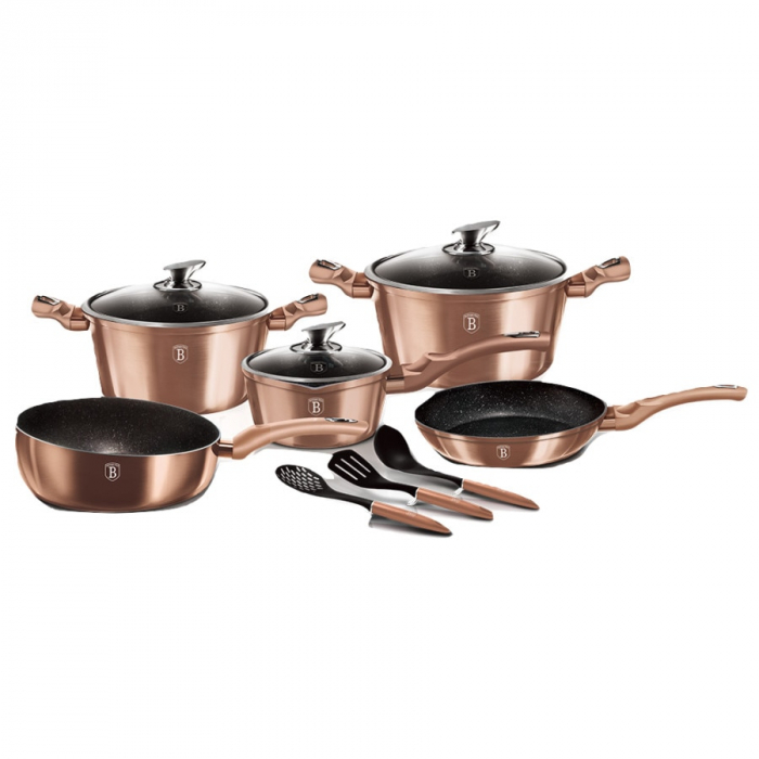 Set oale marmorate 11 piese Rose Gold Berlinger Haus BH 6160 [0]
