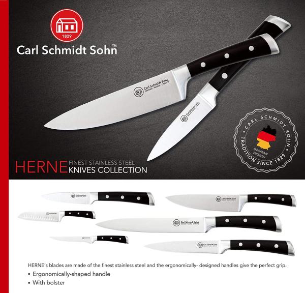Cutitul bucatarului Herne, Carl Schmidt Sohn 037871,20 cm, maner negru, cutie cadou 1