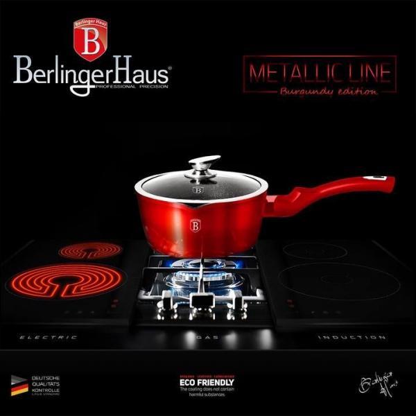 Oala marmorata cu capac Burgundy Metalic Line Berlinger Haus BH 1525N 2