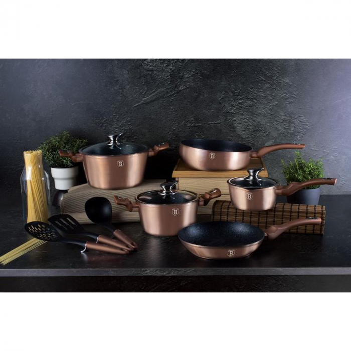 Set oale marmorate 11 piese Rose Gold Berlinger Haus BH 6160 [2]