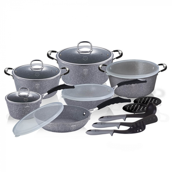 Set Oale marmorate 18 piese Gray Stone Touch Berlinger Haus BH 6196 [0]