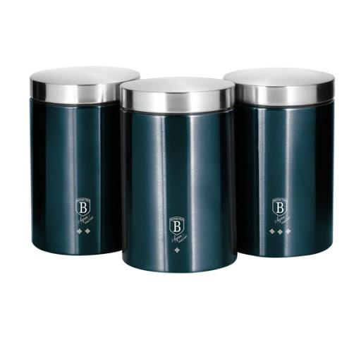 Set 3 recipiente pentru bucatarie Aquamarine Metalic Line Berlinger Haus BH 6271 0