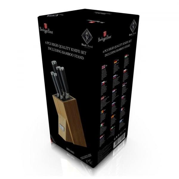 Set de cutite 6 piese, suport bambus, Berlinger Haus Black BH 2425 2