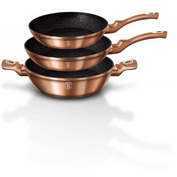 Set tigai marmorate (3 piese) din aluminiu forjat Rose Gold Metalic Line Berlinger Haus BH 1280N [0]