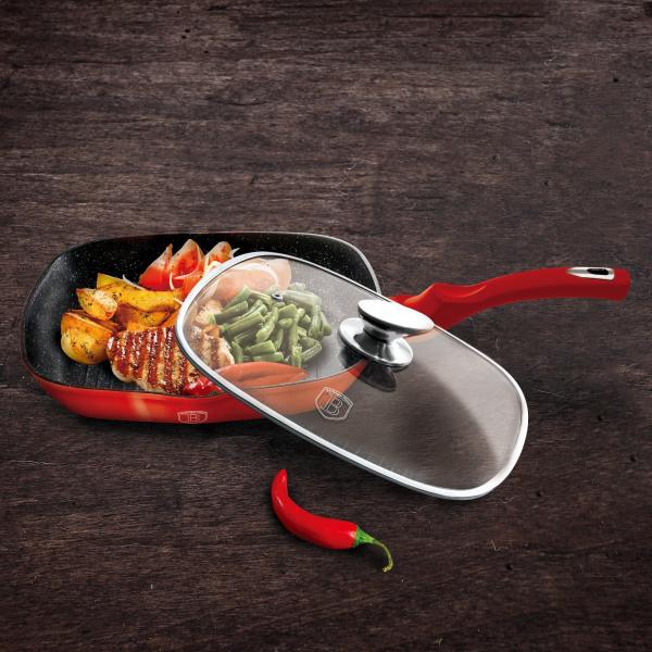 Tigaie grill cu capac Berlinger Haus Burgundy Metalic Line BH 1613N 1
