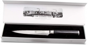 Cutit santoku otel Damask HRC 60 Konstanz, Carl Schmidt Sohn, 12 cm, maner negru,  0713183