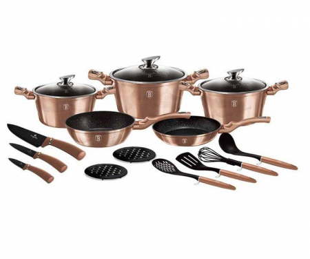 Set oale marmorate 17 piese Rose Gold Berlinger Haus BH 61610