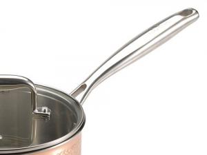Oala inox-cupru pentru sos cu capac 18X9.0CM 2L Hammer Finish De Lux Bergner BGIC-36633