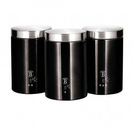 Set 3 recipiente pentru bucatarie Black Silver Berlinger Haus BH 62960