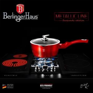Oala marmorata cu capac Burgundy Metalic Line Berlinger Haus BH 1525N2