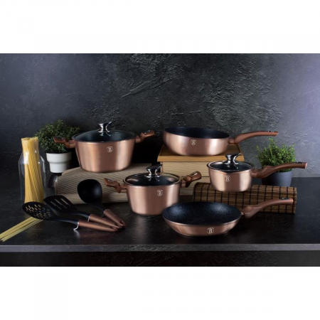 Set oale marmorate 11 piese Rose Gold Berlinger Haus BH 61602