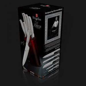 Set Cutite 6 piese Burgundy-Black Metalic Line Berlinger Haus BH 22821