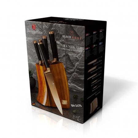 Set de cutite cu suport lemn, 7 piese, Rose Gold Berlinger Haus BH 2479 [3]