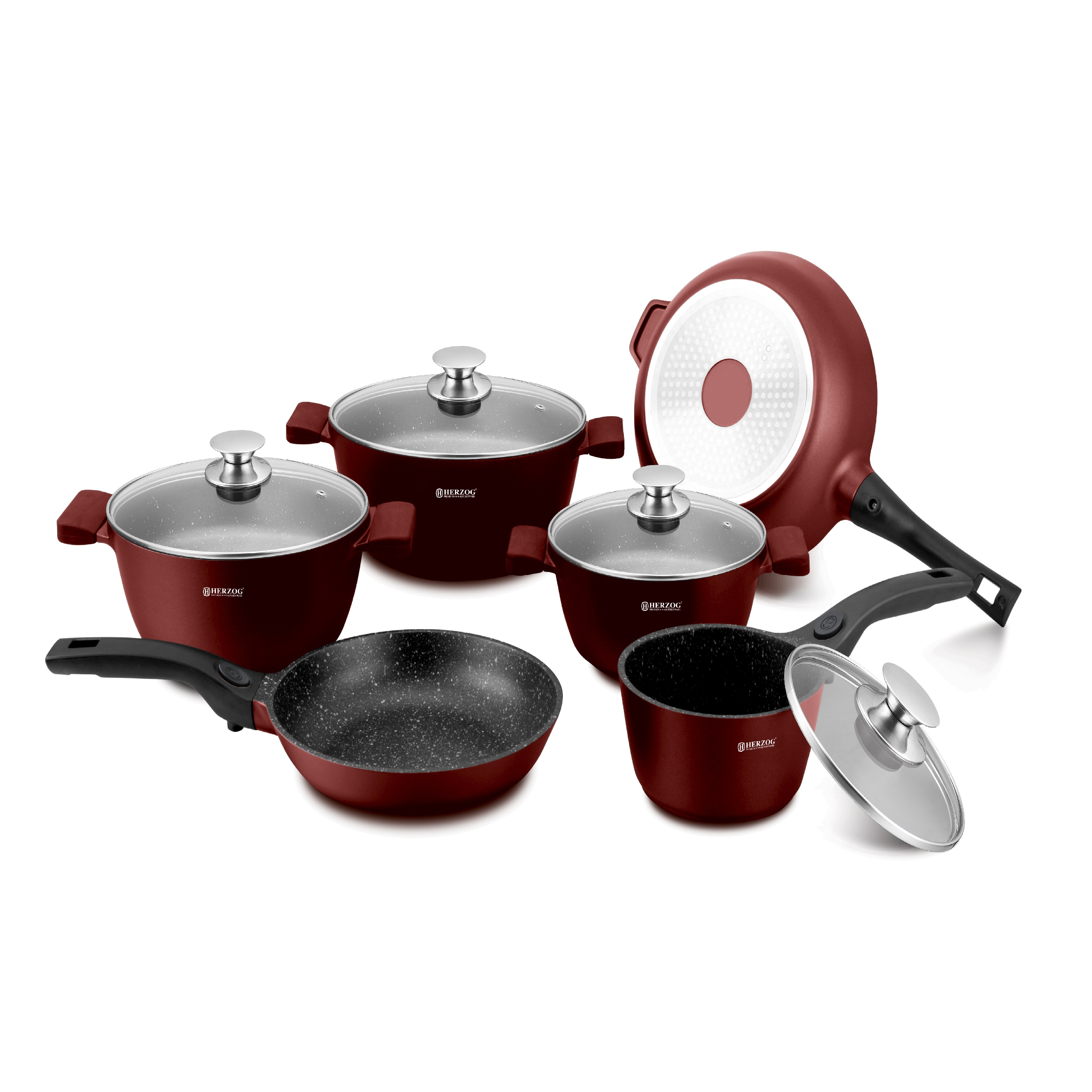 Set Oale marmorate 16 piese Herzog HR-ST16M - Burgundy 0