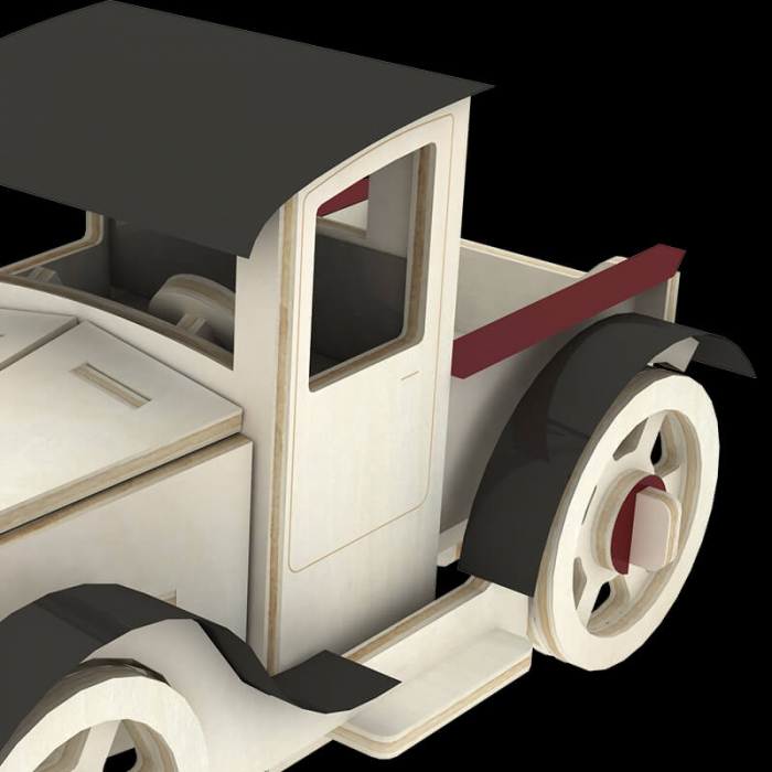 Masina clasica puzzle 3d din lemn 3