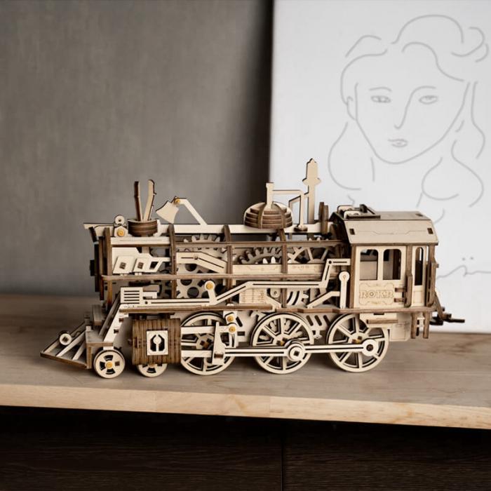 Locomotiva - Puzzle mecanic 3D din lemn 0