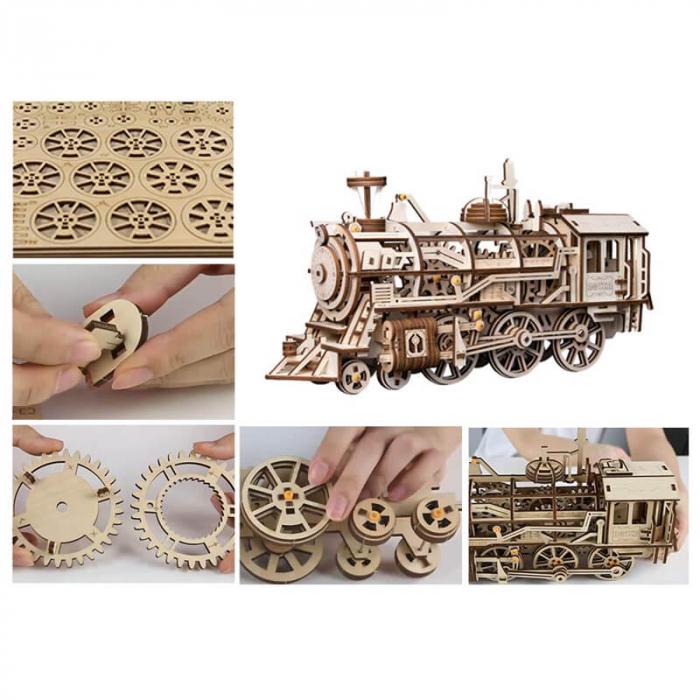 Locomotiva - Puzzle mecanic 3D din lemn 3