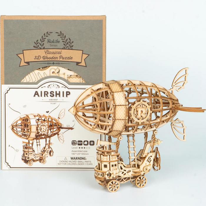 Dirijabil Zepelin - puzzle 3D din lemn 4