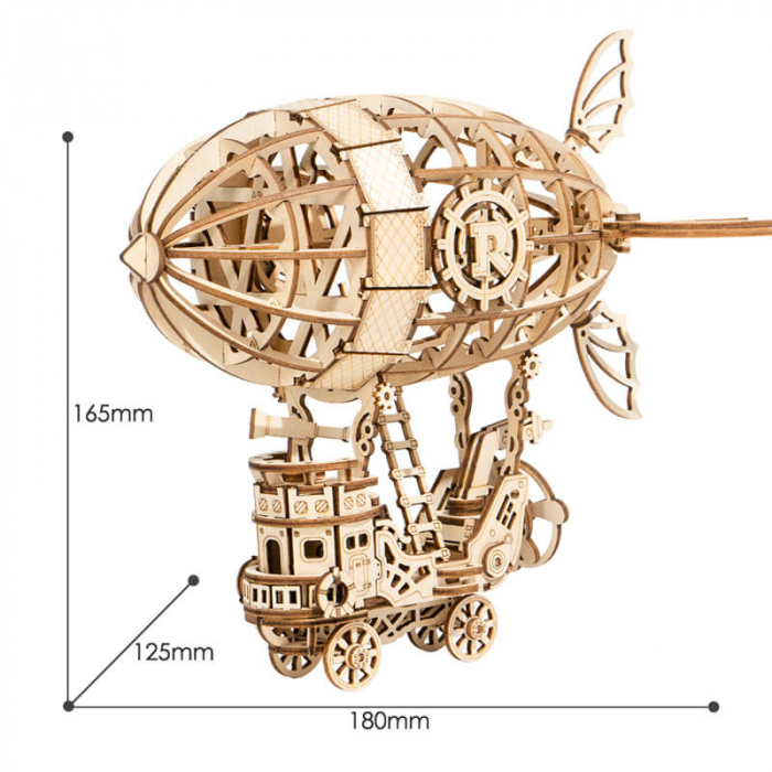 Dirijabil Zepelin - puzzle 3D din lemn 6