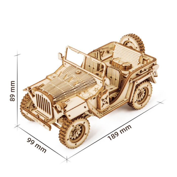 Masina de armata  Jeep militar - MechFun Puzzle 3D din lemn 1