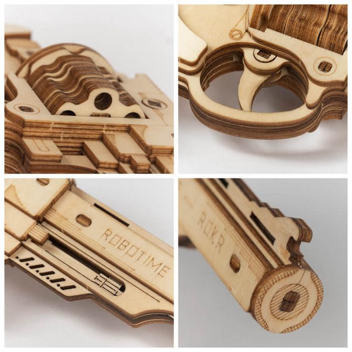 Revolver corsac puzzle mecanic 3D din lemn 2