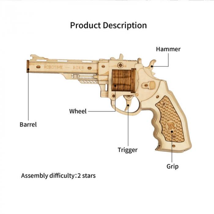 Revolver corsac puzzle mecanic 3D din lemn 3