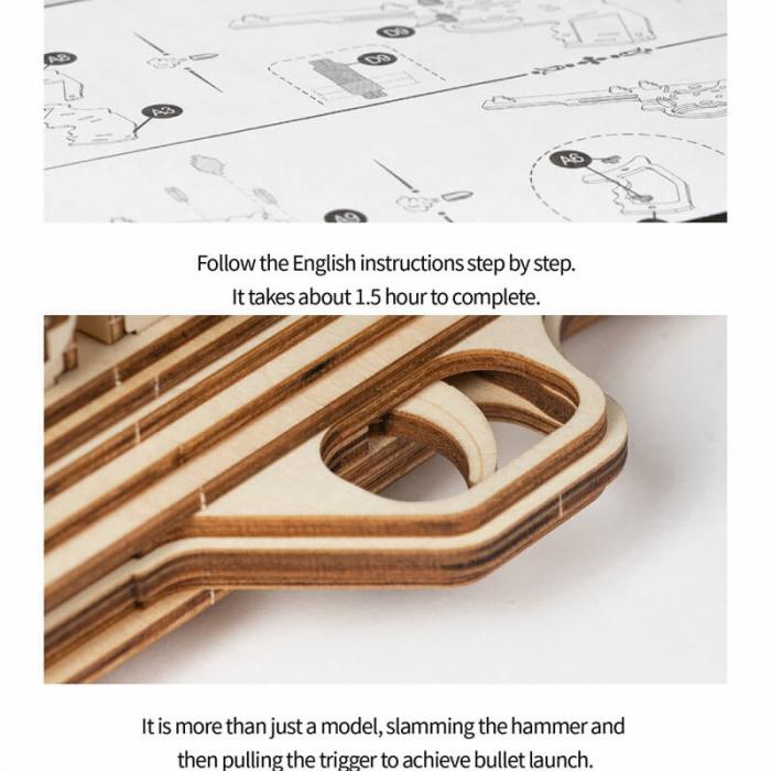Revolver corsac puzzle mecanic 3D din lemn 4