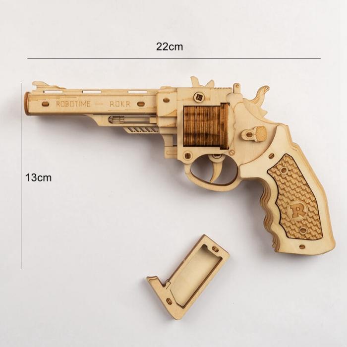 Revolver corsac puzzle mecanic 3D din lemn 6