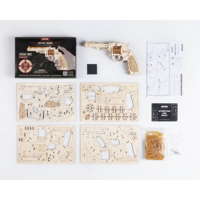 Revolver corsac puzzle mecanic 3D din lemn 5