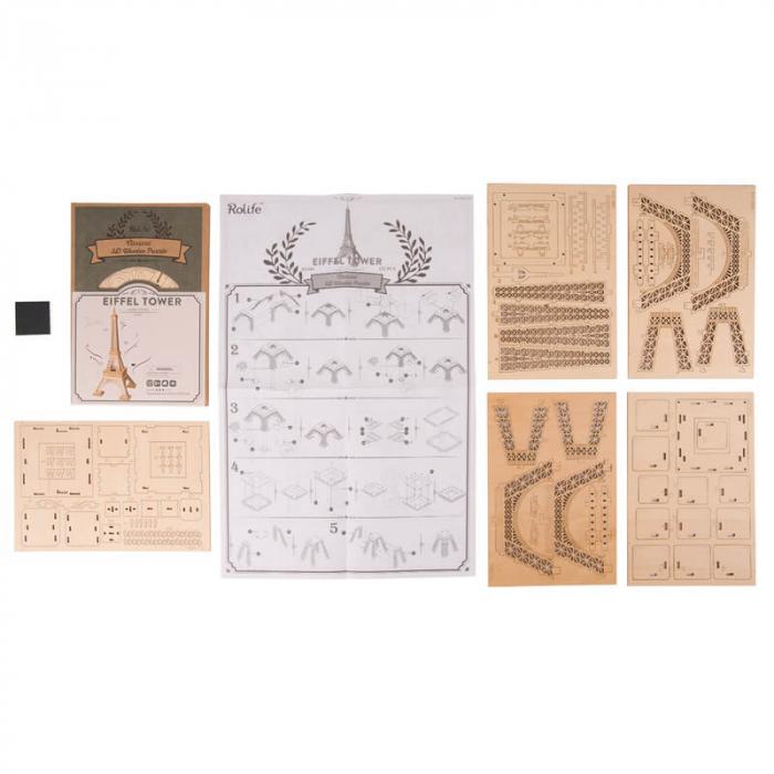 Tunul Eiffel - MechFun Puzzle 3D din Lemn 4