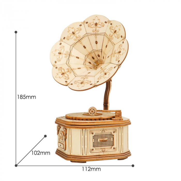 Puzzle 3D din lemn Gramofon 8