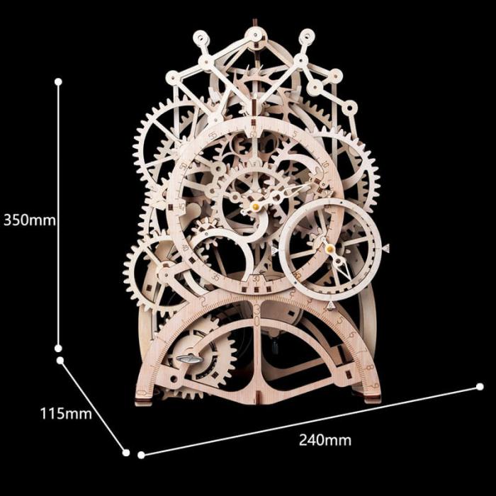 Ceas cu pendul puzzle mecanic 3D din lemn 8