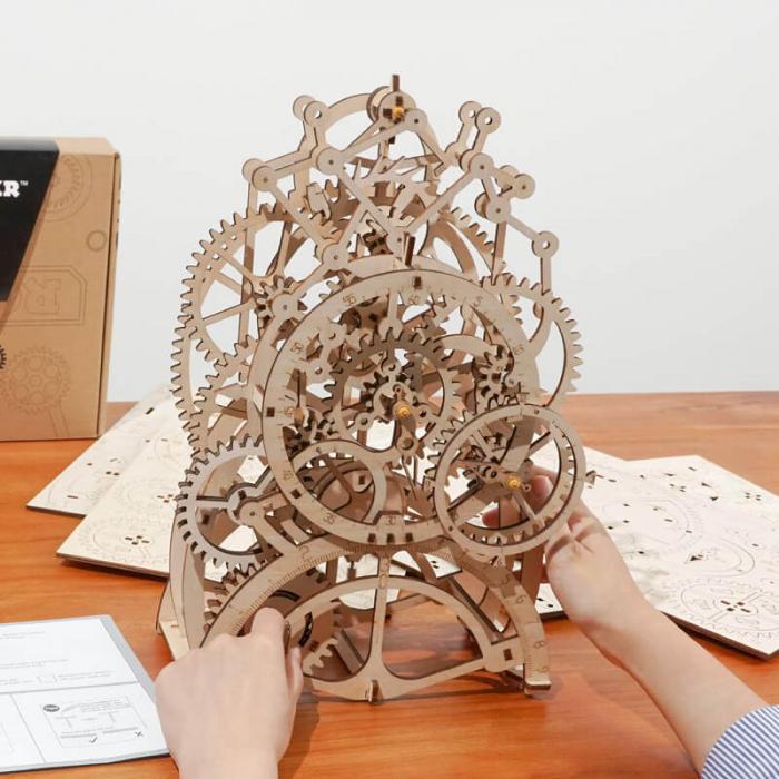 Ceas cu pendul puzzle mecanic 3D din lemn 3