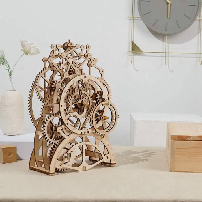 Ceas cu pendul puzzle mecanic 3D din lemn 7