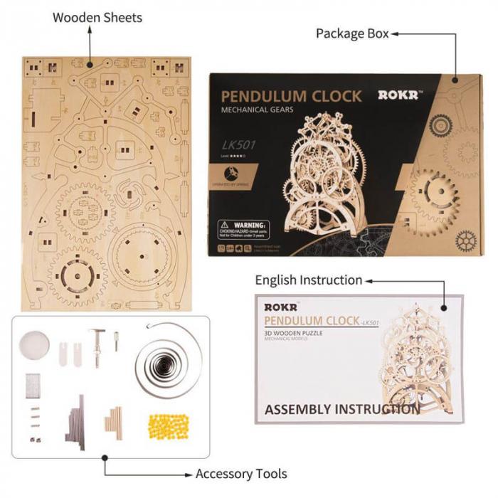 Ceas cu pendul puzzle mecanic 3D din lemn 2