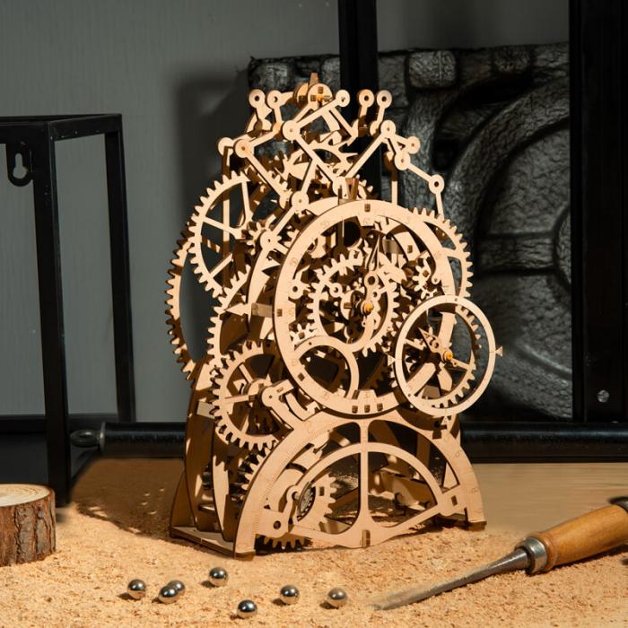 Ceas cu pendul puzzle mecanic 3D din lemn 0