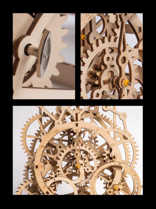Ceas cu pendul puzzle mecanic 3D din lemn 5