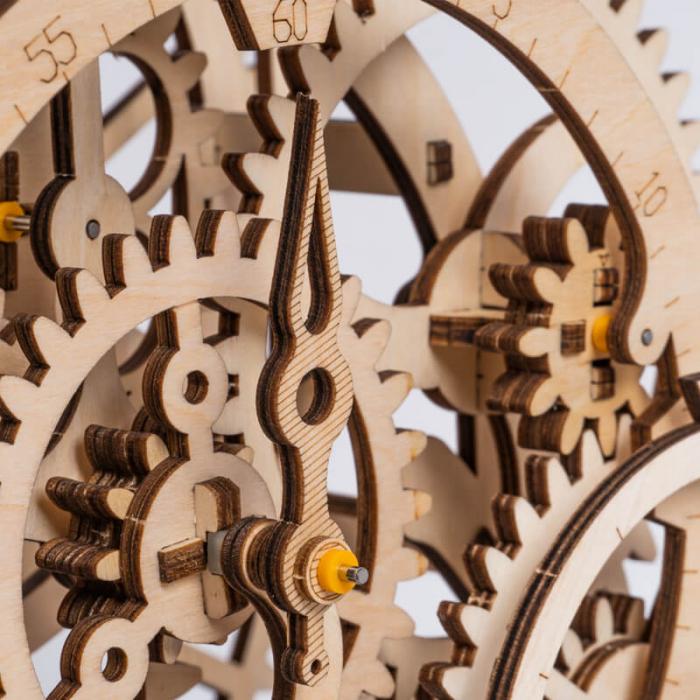 Ceas cu pendul puzzle mecanic 3D din lemn 6